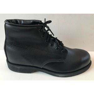 """Men's 6"""" Black Leather Steel Toe Boot Size 9 M NWD"""